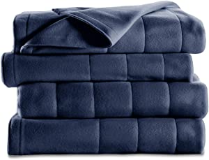 Sunbeam Heated Blanket   10 Heat Settings, Quilted Fleece, Newport Blue, Twin - BSF9GTS-R595-13A00