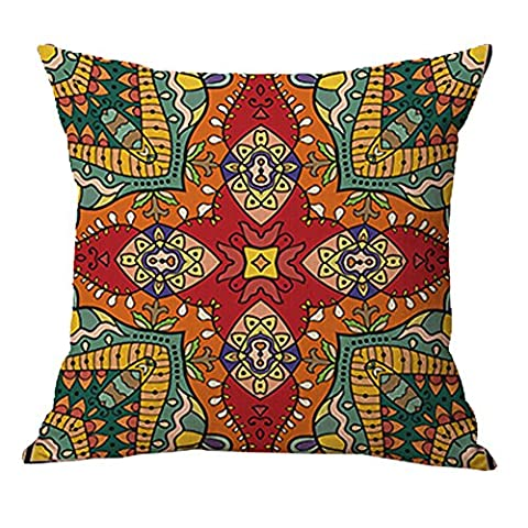 Pidada Square Throw Pillow Case Retro Mandala Moroccan Ethnic Style Pattern Cotton Blend Linen Decorative Cushion Case Cushion Cover Pillowcase for Sofa Bed Chair Bench 18 X 18 Inch (Orange)