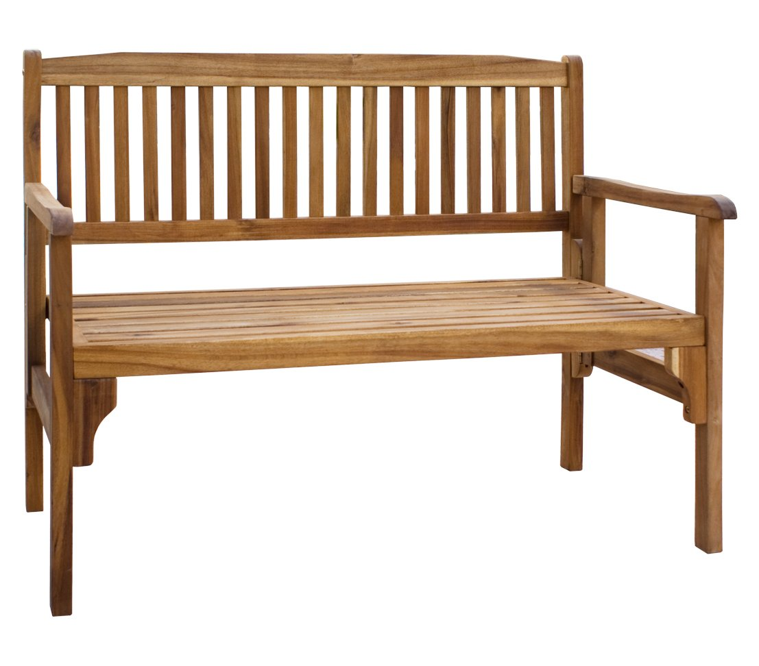 Dehner Gartenbank Lucy, 2-Sitzer, klappbar, ca. 120 x 91 x 54 cm, FSC Akazienholz, geölt, natur