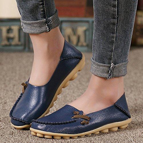 VenusCelia Frauen Comfort Walking Netter Flacher Loafer Tief / Marine