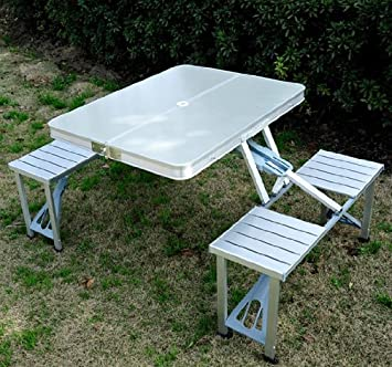 outsunny outdoor aluminum portable folding camp suitcase picnic table with 4 seats silver