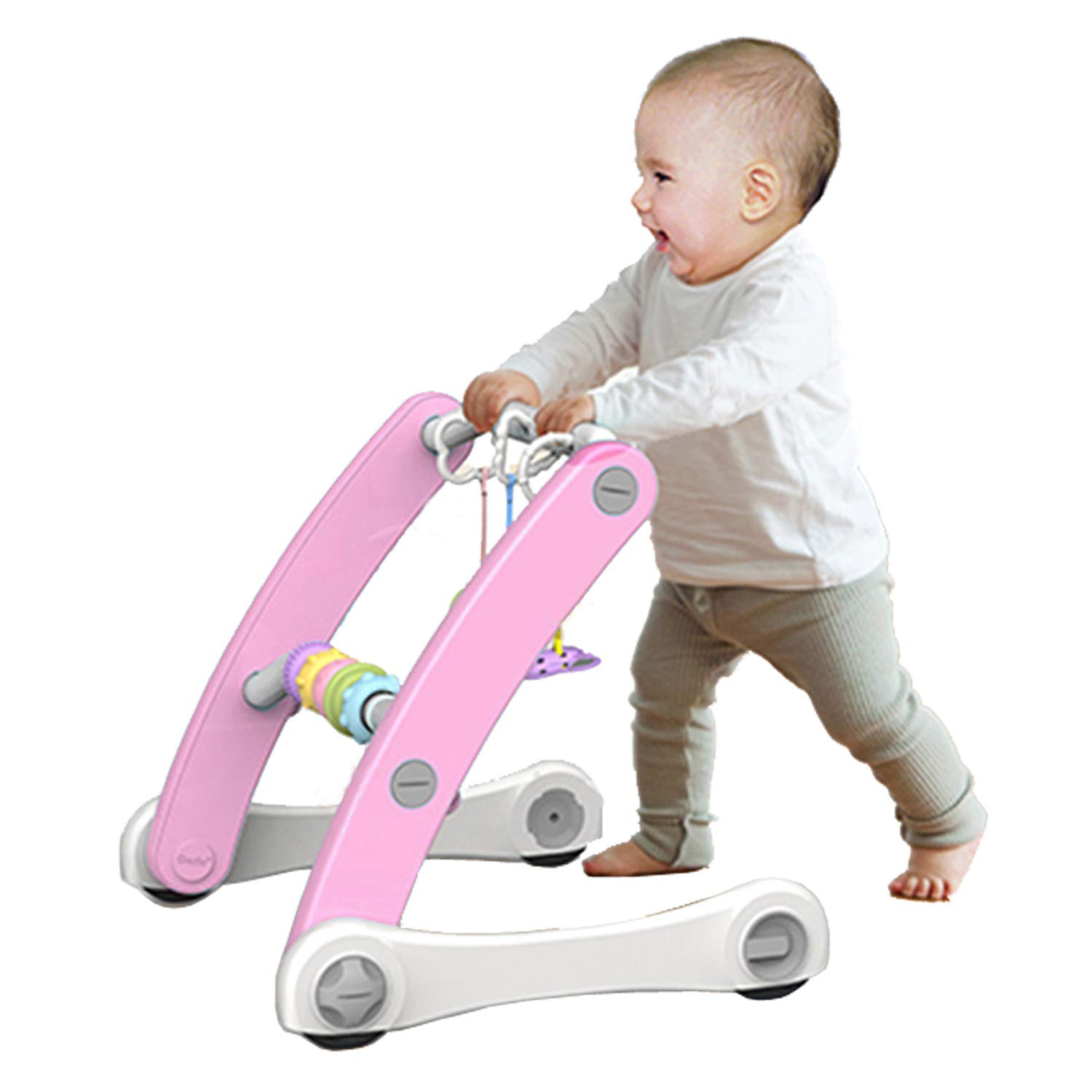 Baby Learning Walker and Infant Activity Gym Center - 3 in 1 Interactive Sit-to-Stand Walker with Play Toys for Toddlers - Princess Pink