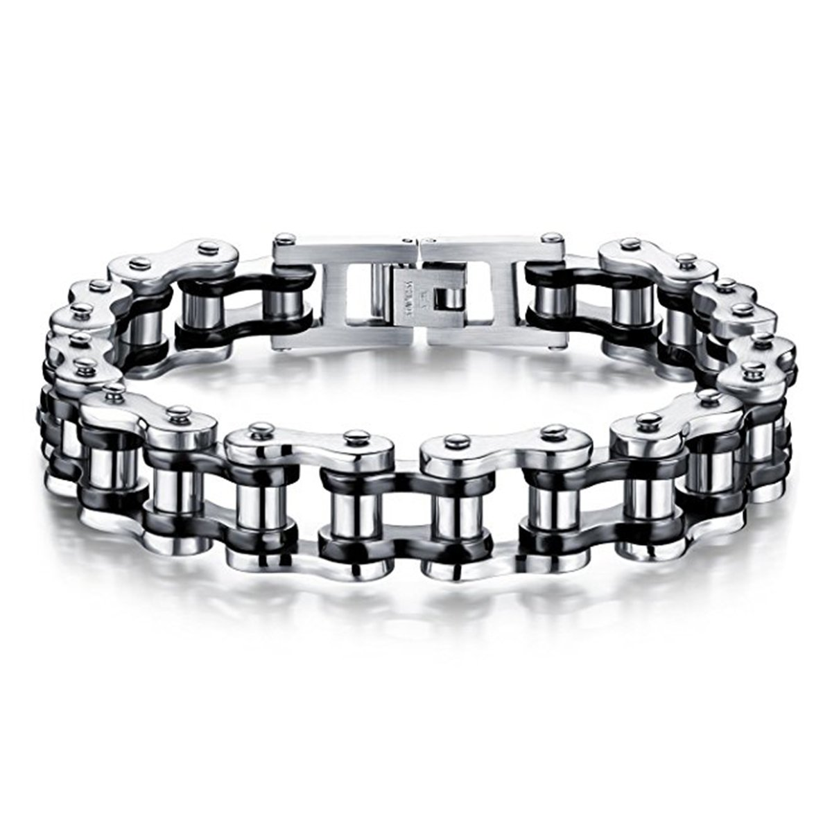 Feraco Mens Bikers Bracelet Stainless Steel Motorcycle Bike Chain Bracelets 8.4 Inch, Black&Silver AJ151201B-SB