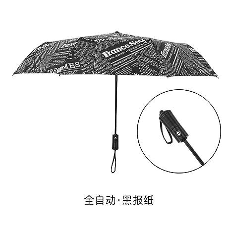 Paraguas Plegables Paraguas automático Hombres y Mujeres Personalidad Plegable Grande Reforzado Doble a Prueba de Viento