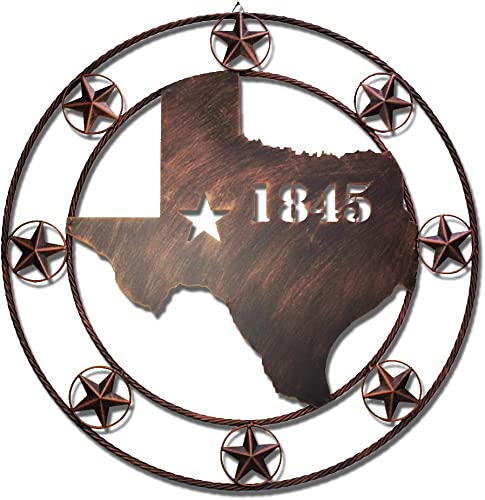 WIPHANY Texas Metal Barn Star Vintage Country Western Home Decor God Bless Our Home The Lone Star 32″ Texas 1845
