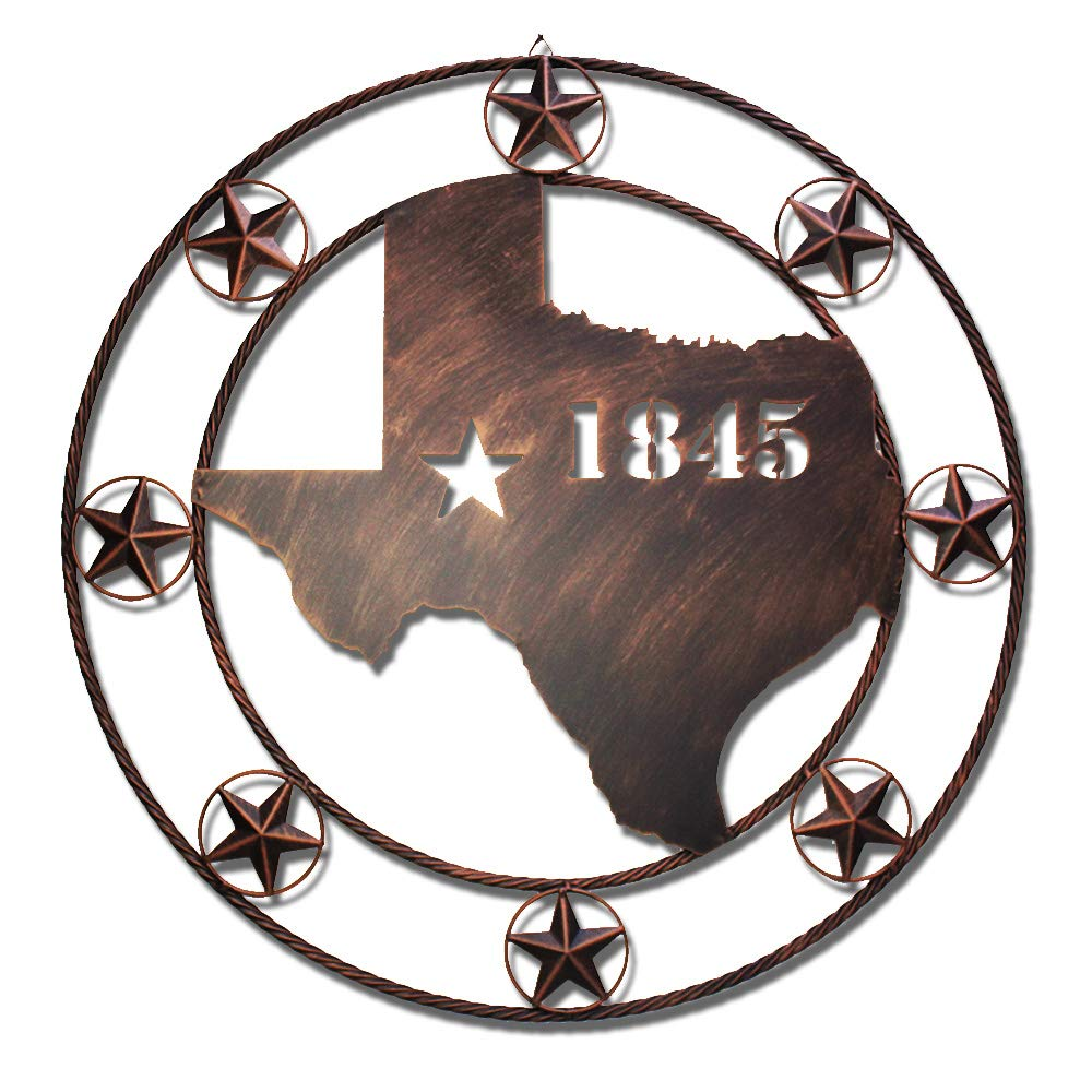 Wiphany Texas Metal Barn Star Wall Decor Outdoor Large Decoraions 1836 Map (32 Inches)