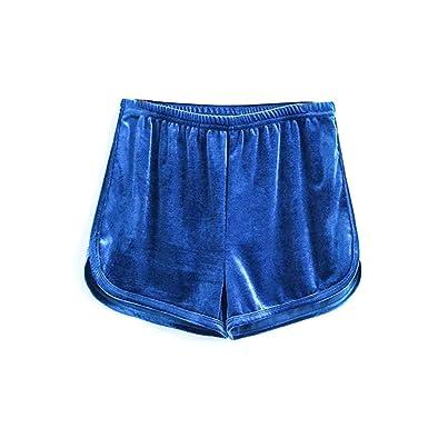 Marciay Short De Fitness pour Femme Short en De Yoga Velours Fitness Mode  de Vie Yoga Running Danse Boxershort Pantalon Décontracté (Color   Blau ac8b87674d0