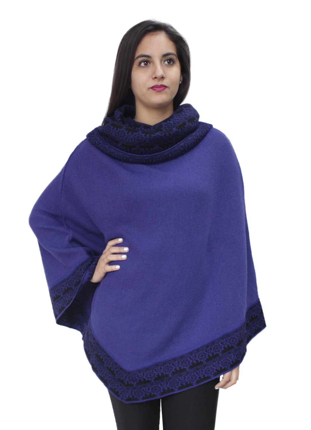 Women's Superfine 100% Baby Alpaca Wool Handmade Knit Premium Poncho One Size Extremely Soft And Warm (Purple)