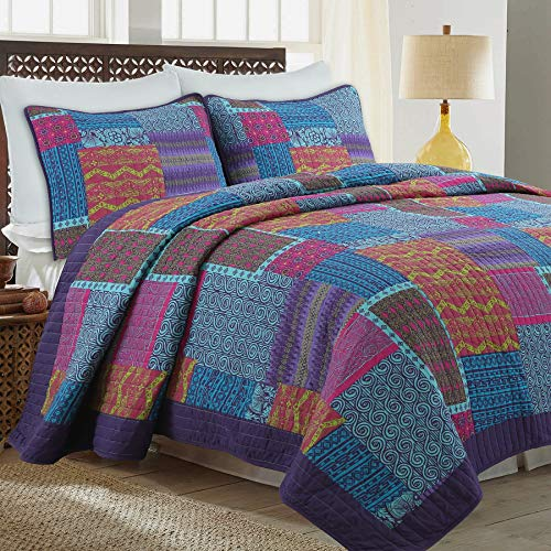 - Cozy Line Home Fashions Wild Berry Purple Blue Orange Fuchsia Print Pattern Patchwork 100% Cotton Quilt Bedding Set, Reversible Coverlet, Bedspread Set for Women(Purple/Blue, King - 3 Piece)