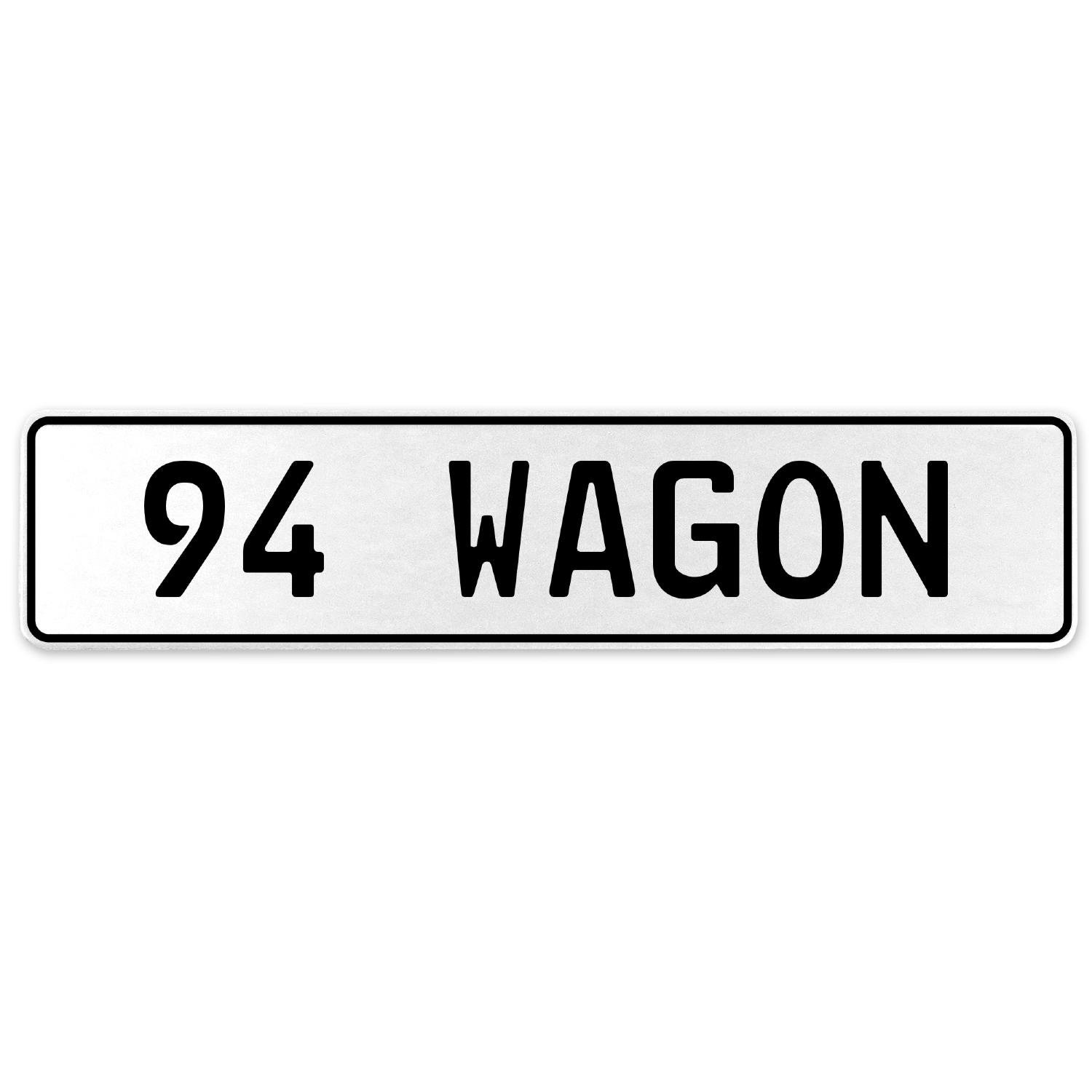 Vintage Parts 558255 94 Wagon White Stamped Aluminum European License Plate
