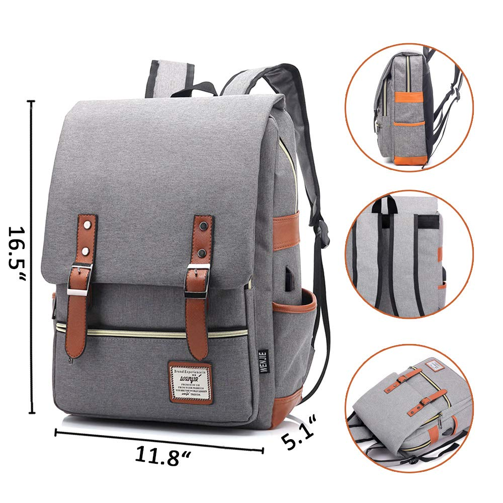 8182d17887e8 Joyhill Vintage Laptop Backpack for Women Men, Slim Waterproof Fashion  Daypack for College School Travel Fits 15.6 Inch Laptop & Notebook  (Gray(USB))