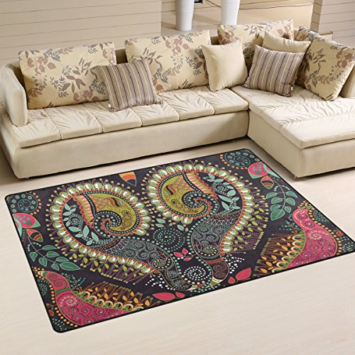 XiangHeFu Area Rugs for Living Dining Bedroom Doormats Decorative Hippie Indian Colorful Heart Mandala Pais 2'7 x 1'8 (31x20 Inches) Carpet Non-Slip Floor Mat Resting -