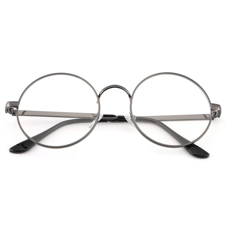 HDCRAFTER Metal Frame Clear Lens Circle Eyeglasses for Men Women HD2010