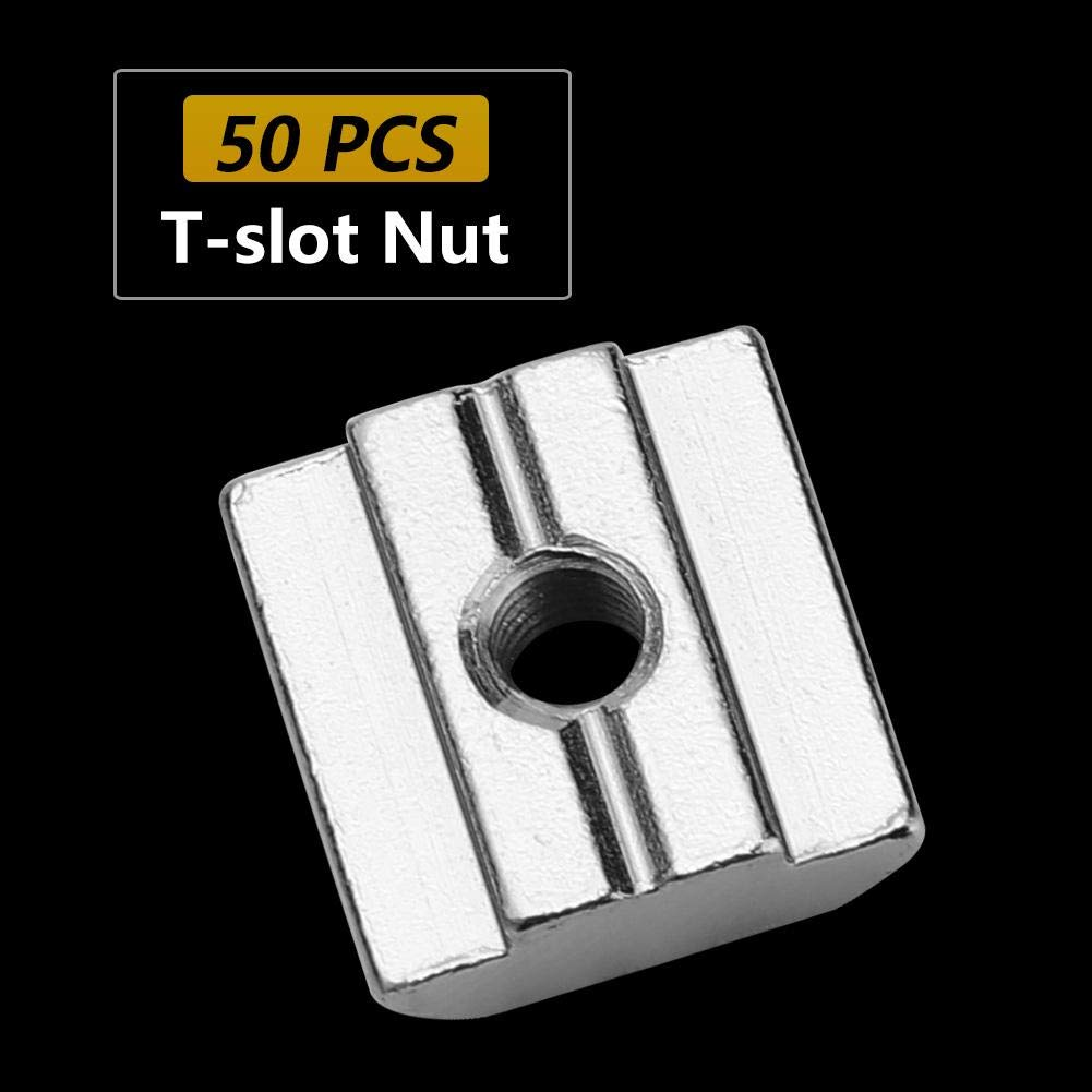 M8*16 * 6 Akozon Muttern 50 St/ück T-Nut Mutter Kohlenstoffstahl Schiebe Nutenstein T-Nutmutter f/ür 30er Aluminiumprofilzubeh/ör