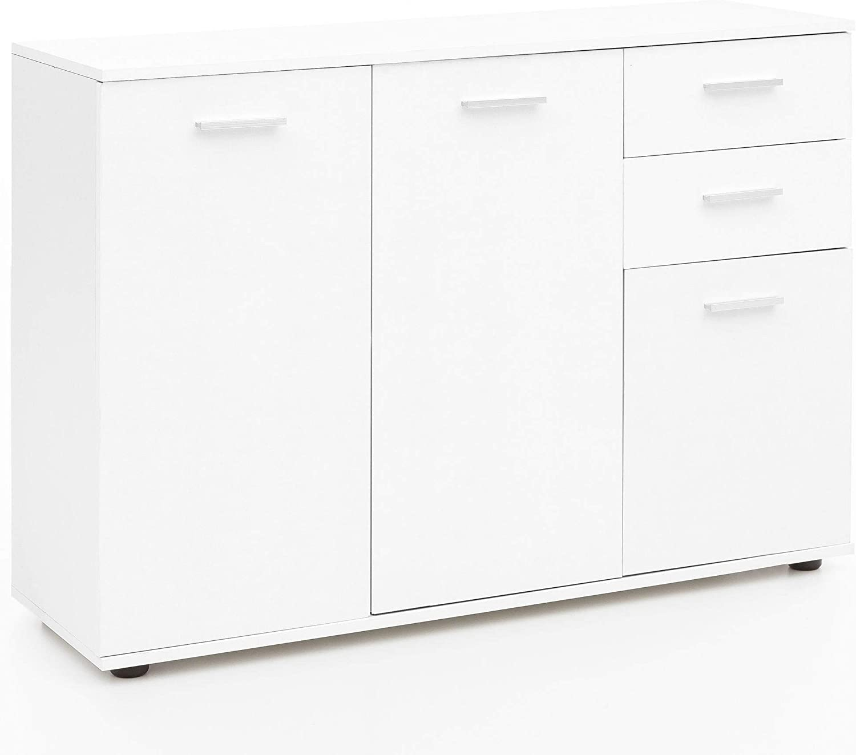 con cassettiera colore: Bianco Cikonielf 120 x 35,5 x 75 cm Mobiletto moderno con cassetti e scaffali
