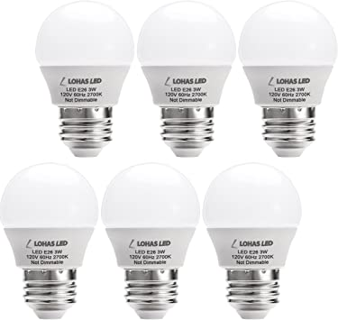 Lohas Led 3w 25 Watt Equivalent Light Bulbs Warm White 2700k Led Energy Saving Light Bulbs E26 Medium Screw Base Led Lights For Home 6 Pack Led Bulbs Amazon Canada