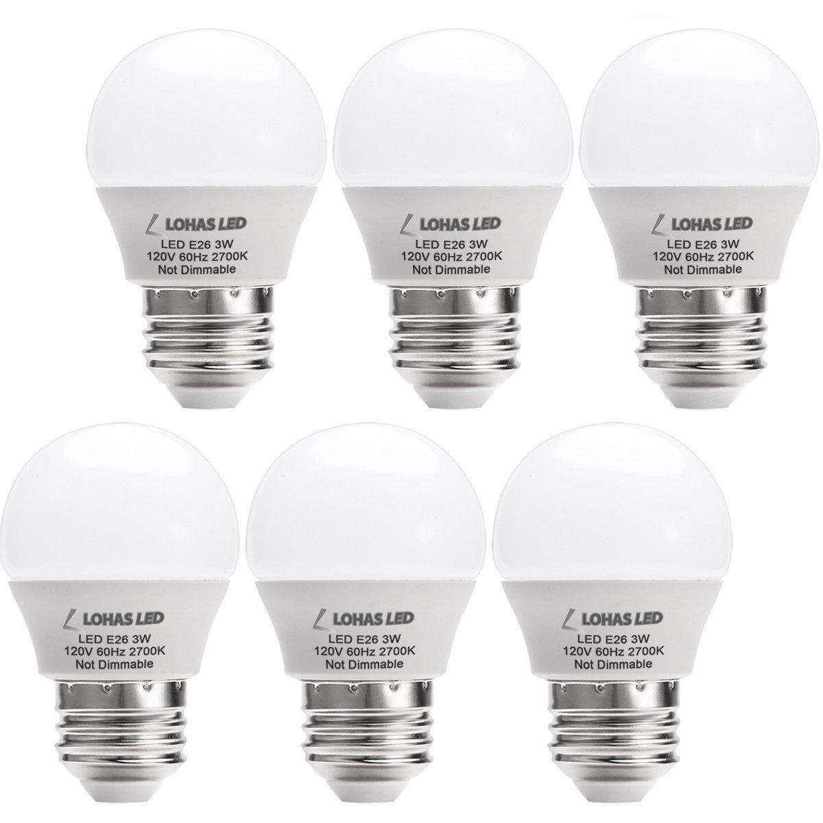 LOHAS LED 3W(25 Watt Equivalent) Light Bulbs, Warm White 2700K LED Energy Saving Light Bulbs, E26 Medium Screw Base LED Lights for Home(6 Pack)