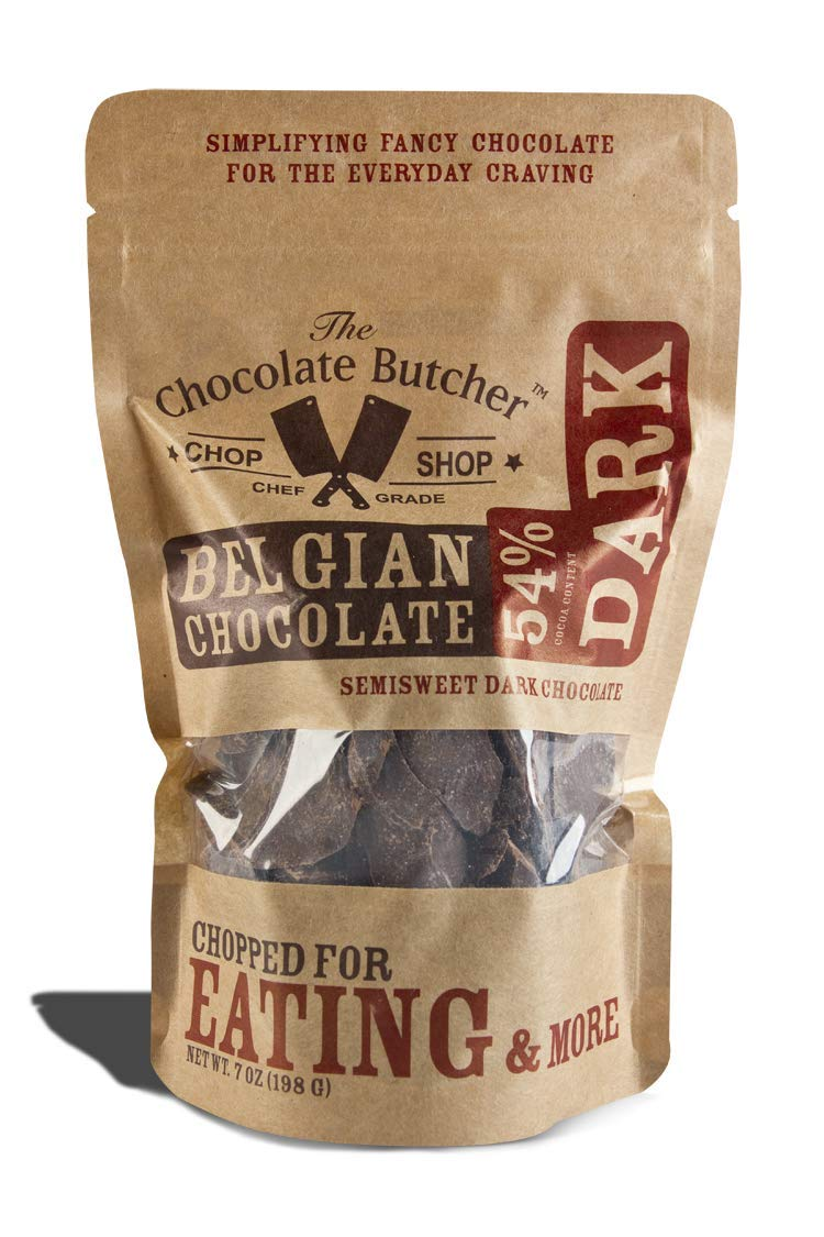 Dark Chocolate 54% Cocoa Content - Chopped for Snacking or Melting (1 Bag-7oz) by The Chocolate Butcher