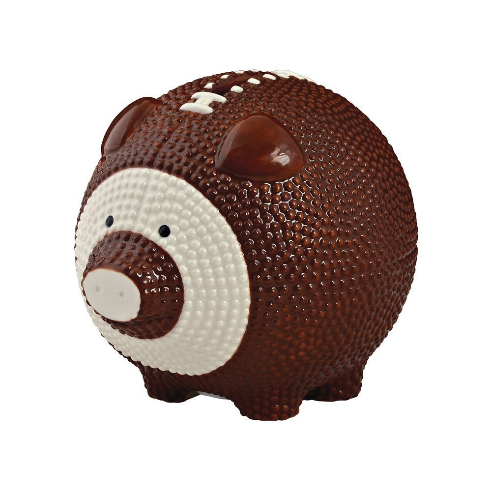 Enesco Football Piggy Bank, Ceramic, 4.25 inches, Brown