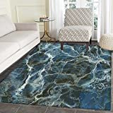 Marble Area Rug Surface Motif with Large Formless Crack Lines and Granite Rock Abstract Design Indoor/Outdoor Area Rug 2'x3' Slate Blue Grey