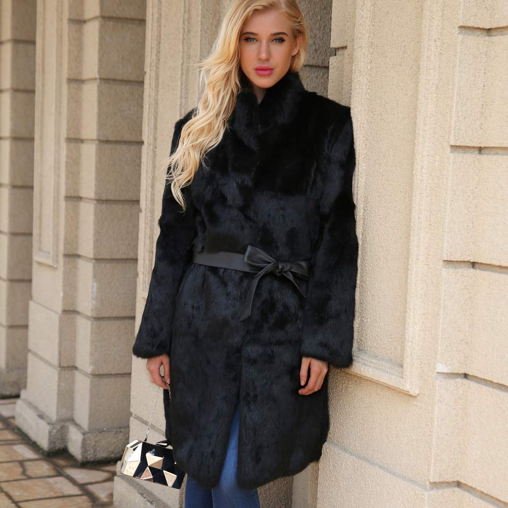 HhGold Abrigo de Invierno para Mujer, Moda para Mujer Cálido Soporte Artificial Cuello Chaqueta Chaqueta de Abrigo de Invierno Parka Chaqueta de Ocio al ...