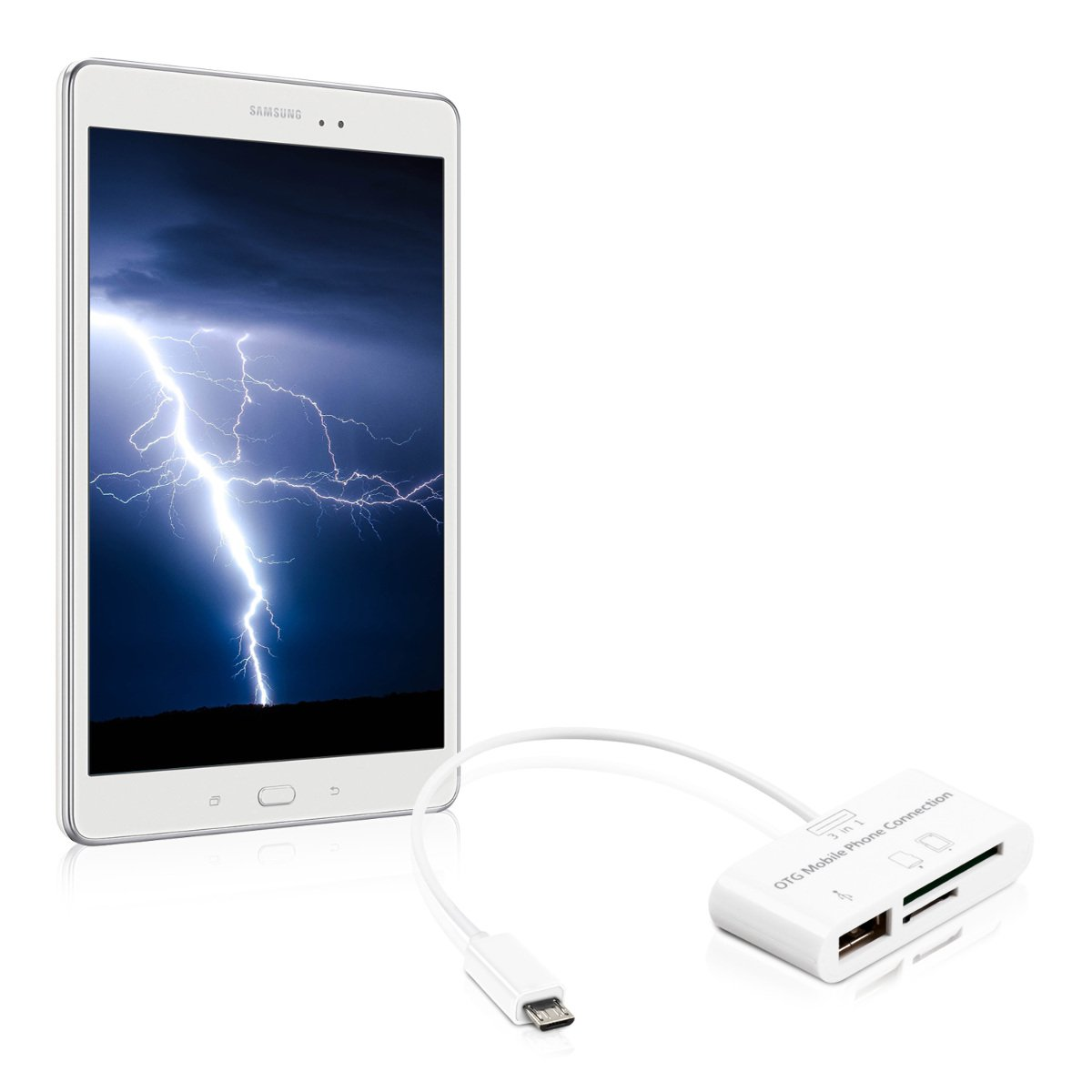 kwmobile 3in1 Micro USB Adapter Card Reader OTG for Samsung Galaxy Tab S2 9.7 White KW-Commerce 36806