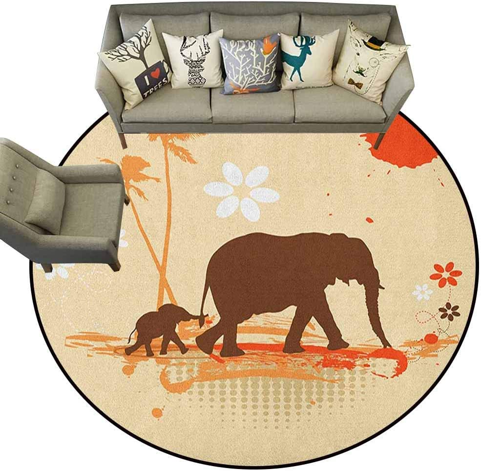 Hedda Clare Alfombra Circular, diseño de Elefante, Selva Silvestre ...