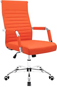 Furmax Ribbed Office Desk Chair Mid-Back Leather Executive Conference Task Chair Adjustable Swivel Chair with Arms (Orange)