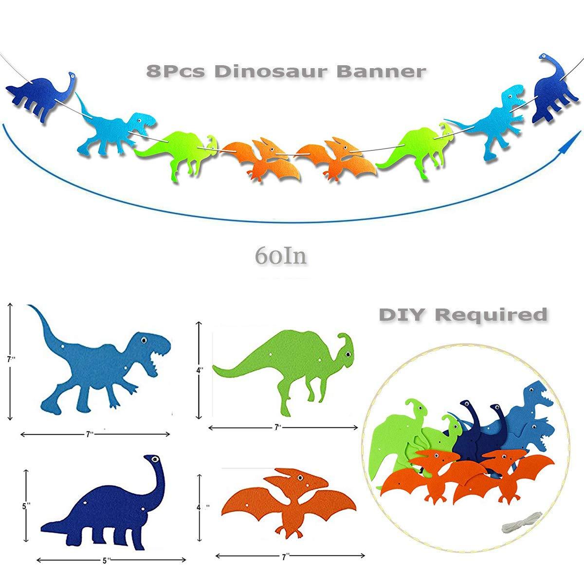 Kit de decoración de fiesta cumpleaños dinosaurio,feliz cumpleaños guirnalda, globos de papel de dino, globos latex colores artículos fiesta favores ...