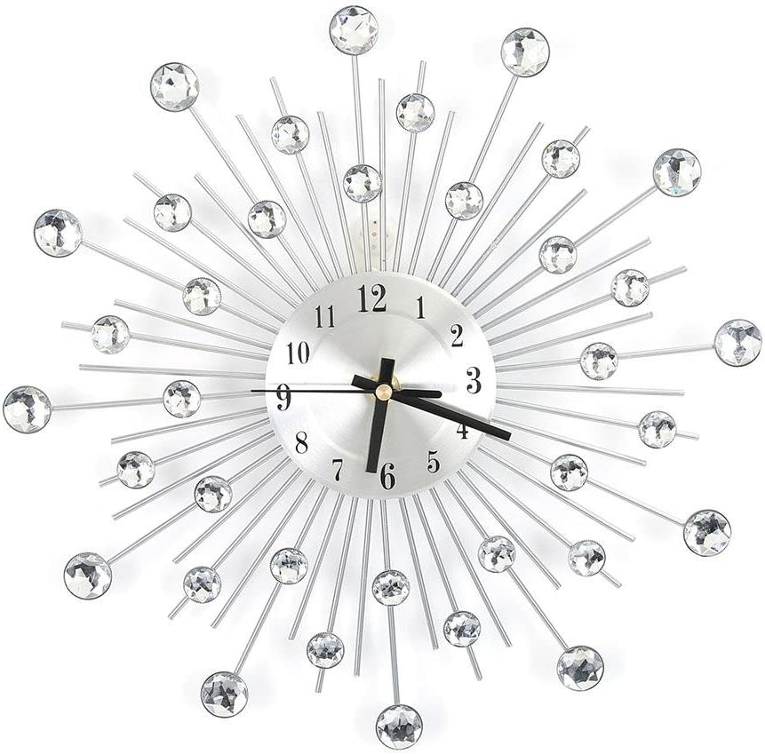 Yosooo 11.81 inch Modern 3D Crystal Wall Clock,Metal Silver Mirror Sparkling Bling Diamond-Studded Wall Decor Clock Round Design Metal Digital Needle Housewarming Gift for Living Room Bedroom Office