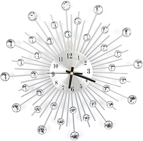 Ruiqas Bling Flower-Shaped Wall Clock Beautiful Crystal Circle Clock Metallic Silver Decorative for Sparkling Living Room Office Hall