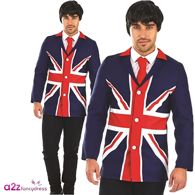 Men's Vintage Style Coats and Jackets 60s Mod Jacket Mens Fancy Dress British Flag Union Jack Adult Costume Blazer New (Large 42- 44