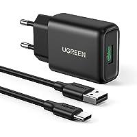 UGREEN USB Ładowarka Szybkie ładowanie 3.0 Zasilacz USB z kablem ładującym USB C 3A Kompatybilna z Galaxy S21 S21 Ultra…