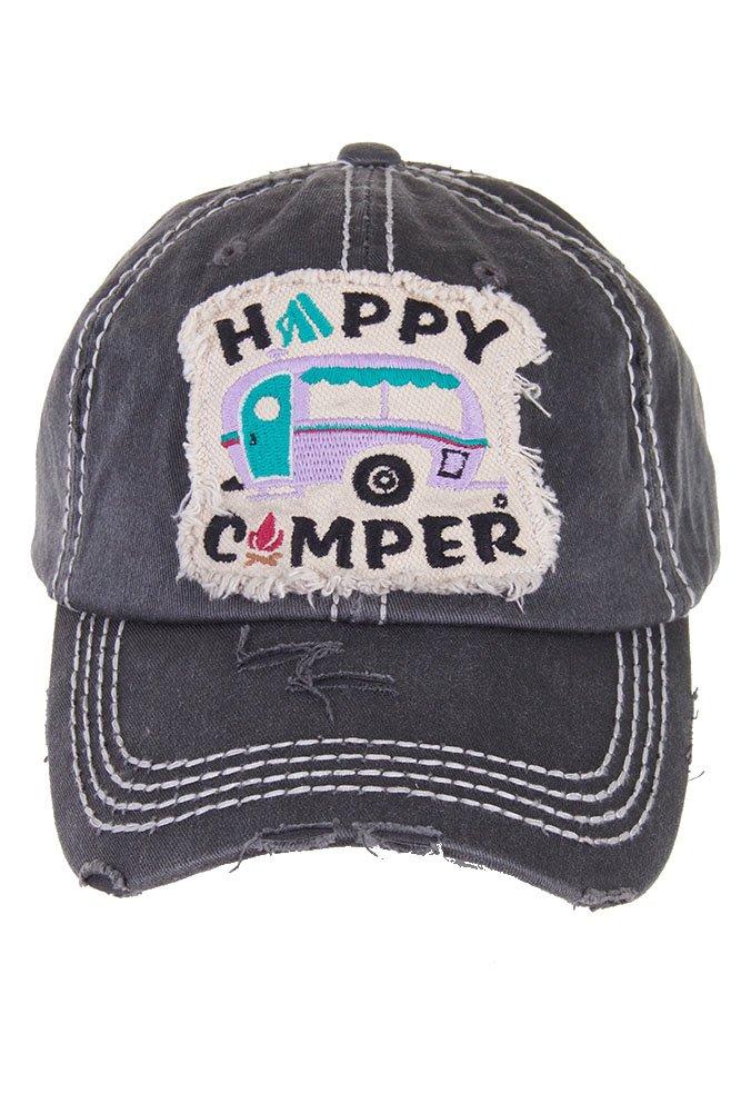 ScarvesMe Ladies Vintage Distressed Happy Camper Baseball Cap (Dark Grey)