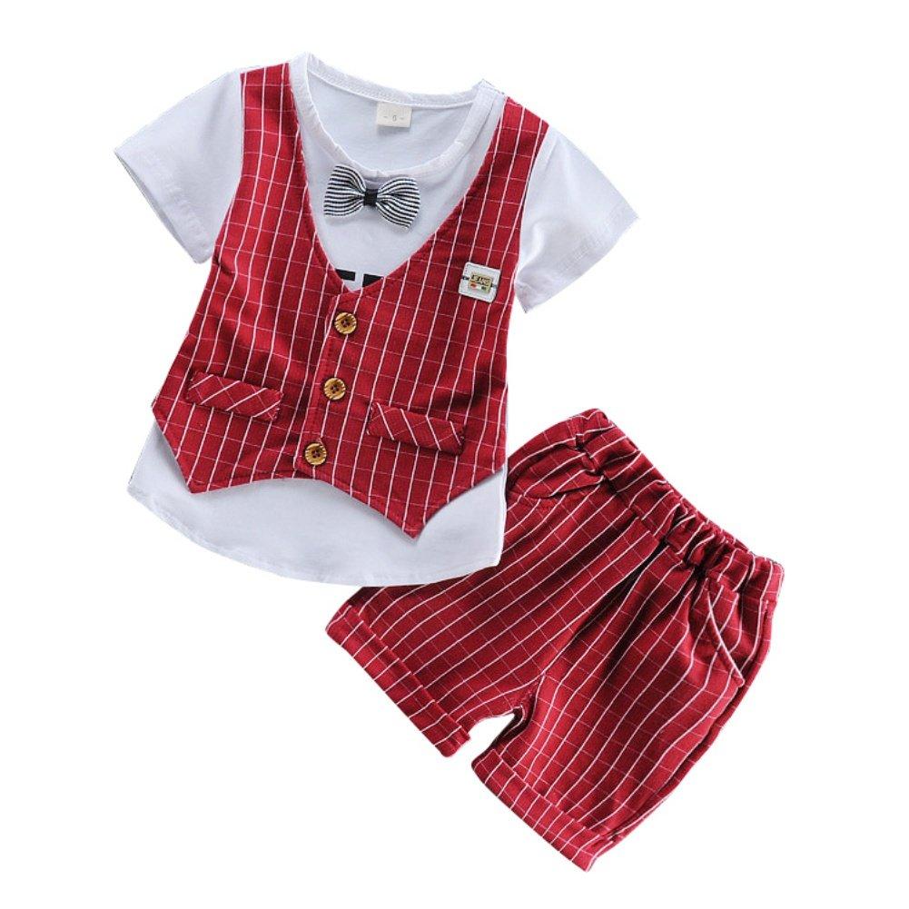 Shiningup Summer Baby Boy Suit Gentleman Clothing Set Vest Short T-Shirt and Plaid Short Pant Formal Party Christening Wedding Tuxedo For 3M-3Y Toddler Infant