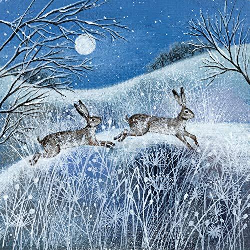 Neve e lepri/ /Venduto in Aiuto di 5/Charities mg-281995/Xah Museums /& Galleries Charity Christmas Cards /Confezione da 5/Carte/ /Luna /