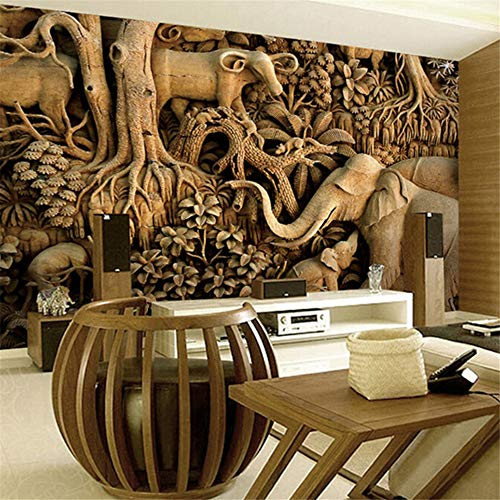 Mural Elephant Wood (xbwy Large Wood Carving Elephant Wallpaper 8D Papel Mural for Living Room Background 3D Wall Photo Murals Wall Paper 3D Sticker-280X200Cm)
