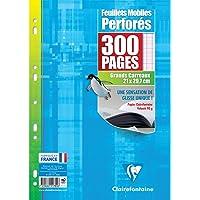 Clairefontaine 17551C -Un étui carton de 300 pages Feuillets Mobiles perforés blancs 21x29,7 cm 90g grands carreaux