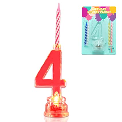 Amazon Novelty Place Multicolor Flashing Number Candle Set Color Changing LED Birthday Cake Topper With 4 Wax Candles Home Kitchen