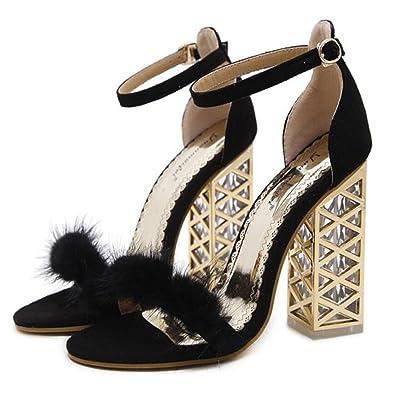 Femmes Hauts Talons Printemps Été Nouveau Sandales Cristal avec Sandales à Talons Épais Chaussures Confortables Femmes Noir Brun Clair GAOLIXIA