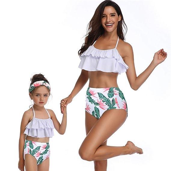 b52b0a890d POLP Ropa de baño Madre e Hija Verano Chica Bikinis Mujer 2019 Braga Alta Mujer  Traje de baño Cintura Alta Dos Piezas ...