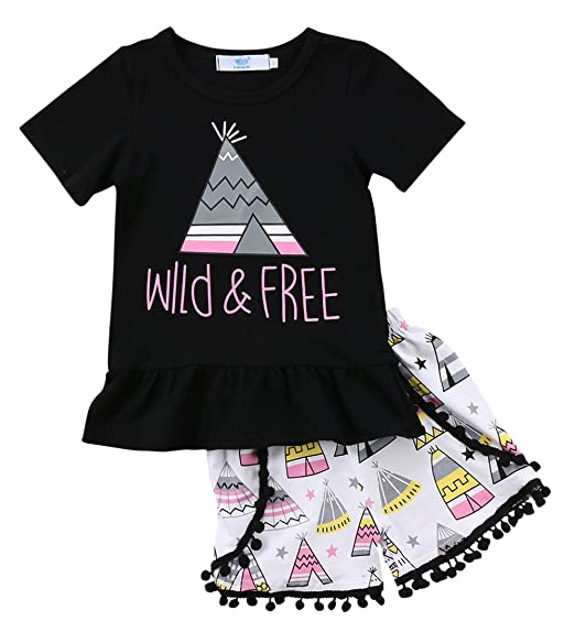97e1582b900 Amazon.com  Canis Little Girls Short Sleeve Wild and Free Teepee Dress T- Shirt and Pom Pom Shorts Outfit Set  Clothing
