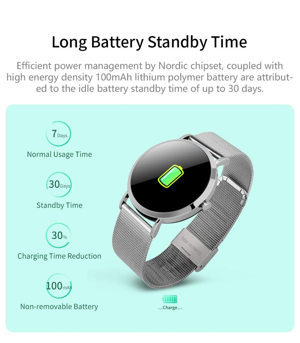 For iOS Android, Waterproof Sport Smart Watch Fitness Activity Blood Pressure Heart Rate Sleep Monitoring Smart Bracelet (C) by YNAA (Image #3)
