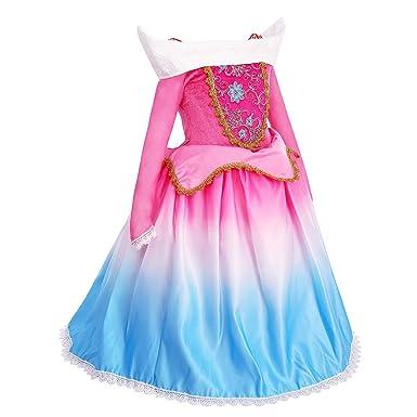 cfbf4e5c532e6 OBEEII Déguisement Aurore Enfant Fille Robe de Princesse Aurora La Belle au  Bois Dormant Costume Cosplay