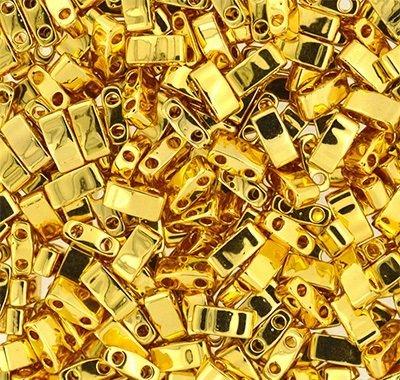 (Miyuki Half Tila Seed Beads Metallic 24Kt Gold Finish (TL191) 5x2.3x1.9mm rectangle with (2) 0.8mm holes 10 grams)
