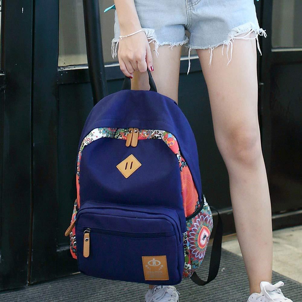 Schultasche weibliche Junior Highschool Mädchen einfache japanische und koreanische koreanische koreanische Version des Campus Druck High School College Rucksack Canvas Rucksack B07H6D9NTJ Daypacks Online-Exportgeschäft 5ffa43