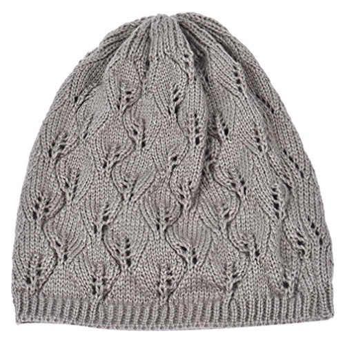 XUANOU Women Beret Leaves lace button wool hat (Grey) (Olympic Beret)
