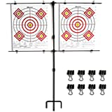 Highwild Adjustable Paper Target Stand, Frame with 8 Clips | Clear Bullseye Targets Sheet for Shooting Practice