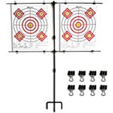 Highwild Adjustable Paper Target Stand, Frame with 8 Clips   Clear Bullseye Targets Sheet for Shooting Practice
