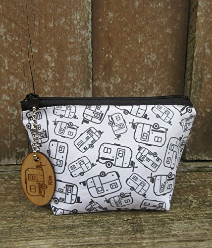 Egg Camper Fabric Cosmetic Bag with personalized keychain by Camping and Teardrops